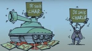 """An anti-Charlie Hebdo cartoon in Echorouk, an Algerian newspaper, playing on char, French for """"tank"""": a tank with the sign """"I am a tank"""" is shown crushing """"Gaza,"""" """"Mali,"""" """"Syria,"""" and """"Iraq,"""" January 14, 2015."""