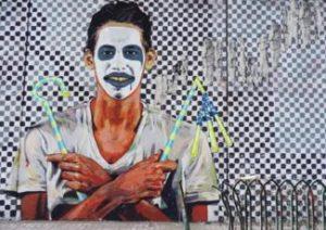 [Late graffiti artist Hisham Rizq, killed in July 2014, painted by Ammar Abu Bakr. Captured 12 September 2014]