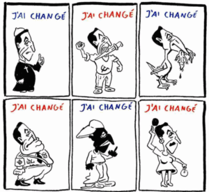 """Drawings of former French president Nicolas Sarkozy, proclaiming, """"I have changed,"""" published in Charlie Hebdo, May 2, 2007"""