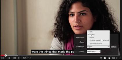Figure 1: Choice of subtitling language on Youtube