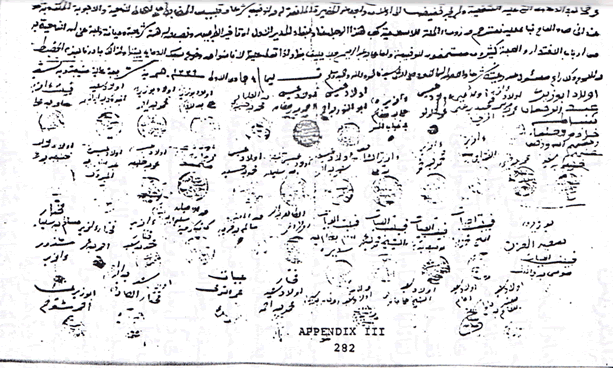 An example of Arabic script from Libya, ca. 1900, from Abdulmola El-Horeir, Social and Economic Transformations in the Libyan Hinterland during the Second Half of the Ninerteenth Century: The Role of Sayyid Ahmad al-Sharif al-Sanusi, UCLA 1981, Appendix III, p. 282. width=
